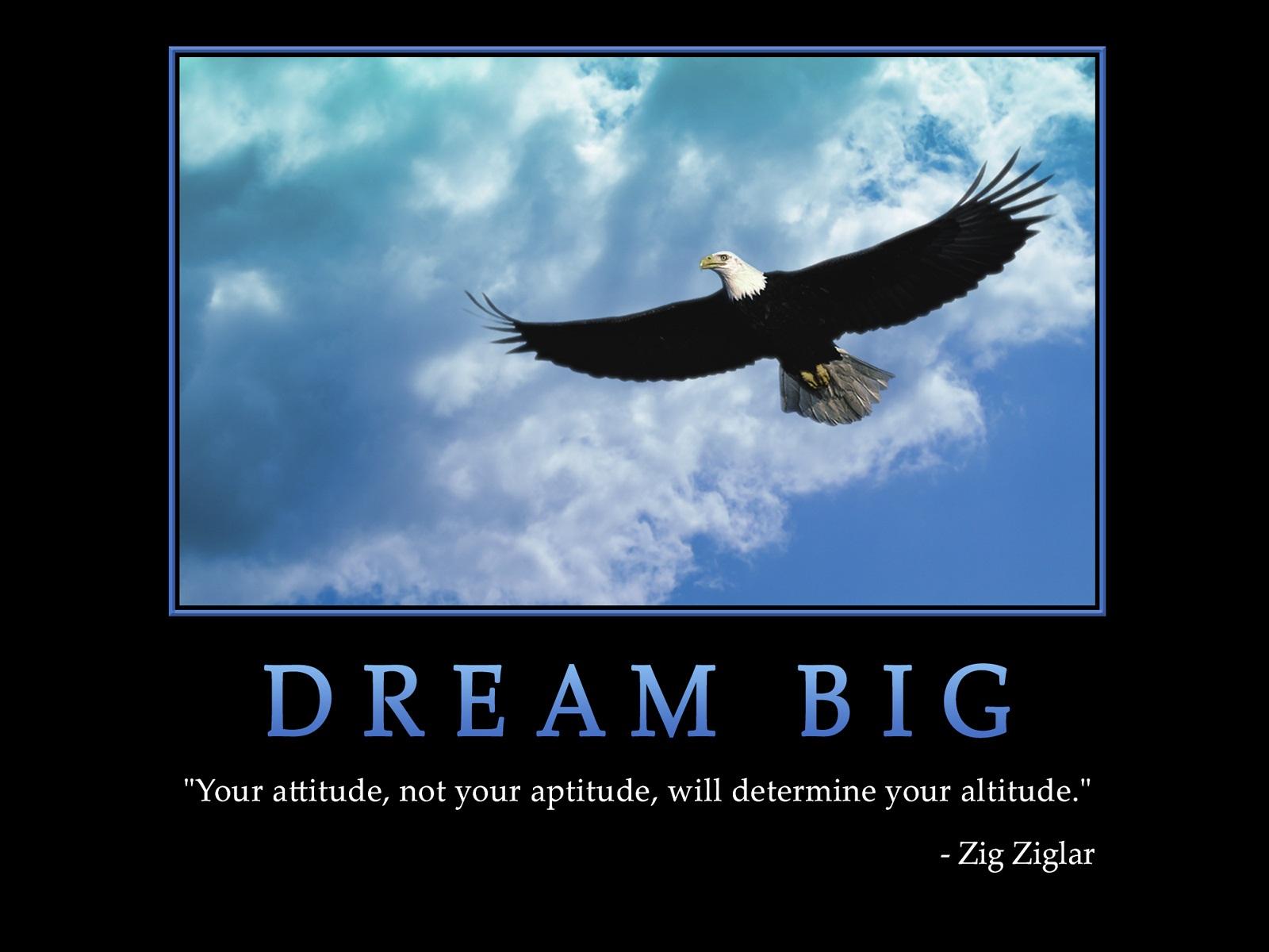 Your attitude, not your aptitude, will determine your altitude (Zig Zigler).