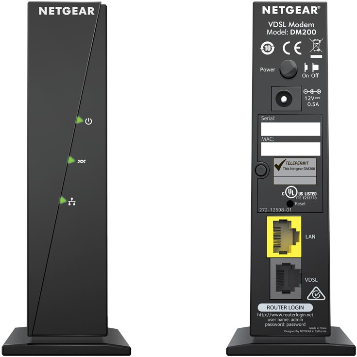 Netgear DM200 Front and Back